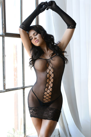 Dark Places Fishnet Lace Body Stocking- Regular And Queen Size