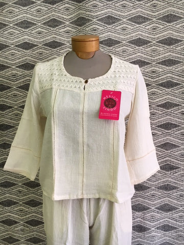 Natural Cotton blouse by Azteca Lindo. 1143N Use code save50 at checkout to save 50%  Made in Mexico, top quality.