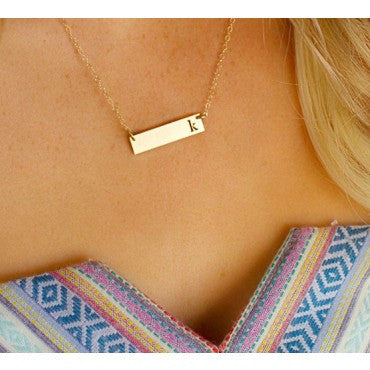 Rectangle Initial Necklace