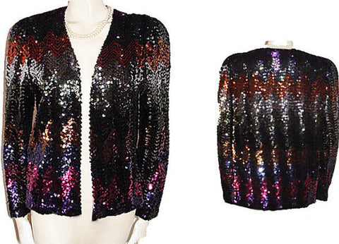 VINTAGE JO ED SOPHISTICATES SPARKLING JACKET ENCRUSTED WITH SEQUINS - PERFECT FOR THE HOLIDAYS