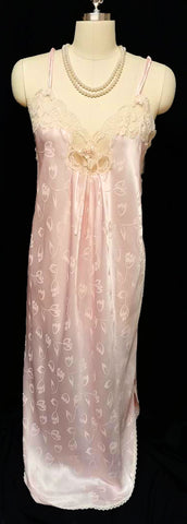 VINTAGE 1970 CHRISTIAN DIOR SATIN LACE, ROSETTE & PEARL NIGHTGOWN IN PINK SHIMMER