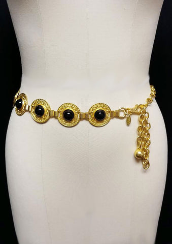 VINTAGE 1980s MOTION EAST ONYX LOOK GOLD FANCY CHAIN BELT