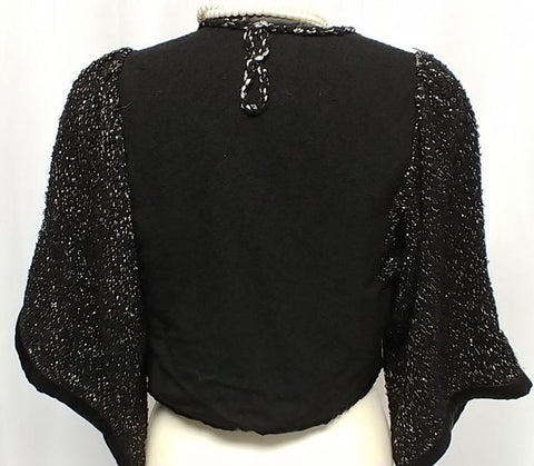 VINTAGE PEGGY HARDING ORIGINAL BLACK & SPARKLY SILVER EVENING JACKET - PERFECT OVER DRESSES OR WITH JEANS
