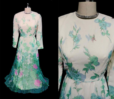 VINTAGE 60's / 70's POSH BY JAY ANDERSON SHEER FLORAL & BUTTERFLY GARDEN PARTY TEA DRESS