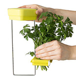 Green herbs are put in the holder in the middle of the metal frame below the yellow lid.