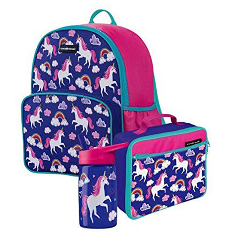 "The ""Unicorn"" Backpack has a nylon locker handle and side pocket for drinking bottle storage. There is a unicorn water bottle and lunch pale with it."