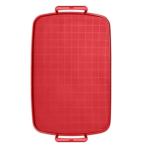 This is a medium-sized red baking sheet for cookies with two red handles on both sides.