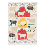 Dish Towel with 2 red barns, a yellow hay stack, sheep, and cows.