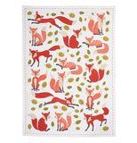 Foxes Tea Towel patterns with leaves