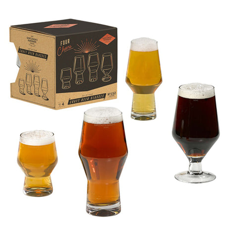 The four glasses are shown with different beers in them as they stand next to their box.