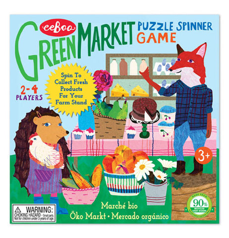 The Green Market puzzle spinner Game shows a hedgehog and a fox in the background showing some food products.