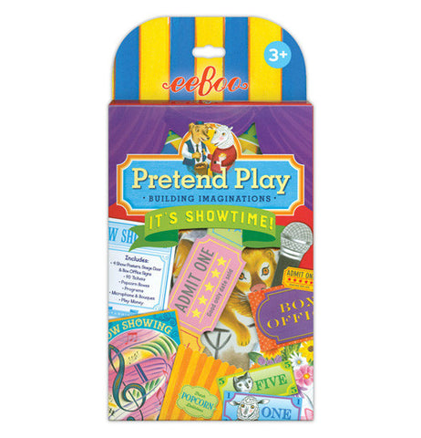 the package for the pretend play showtime shows some of the items included in the set including popcorn boxes, tickets, microphone, and program