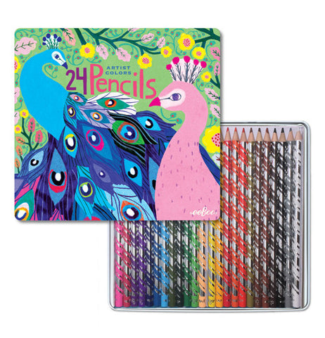 "The opened cover of the ""Peacock"" Pencil Case has 24 colored pencils inside."