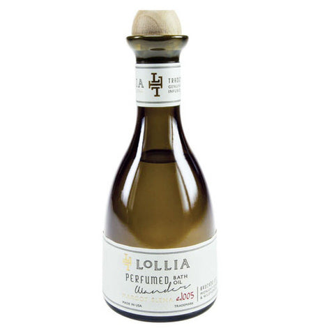 "Perfume is in a green bottle and says ""Lollia Perfume Bath Oil 1005 Made In USA."""