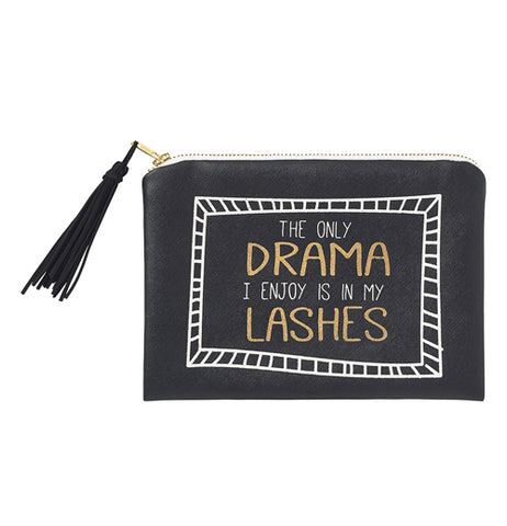 "This small black zip-up bag features the words, ""The Only Drama I Enjoy Is In My Lashes"" in yellow and white lettering. A white frame surrounds the words. A black tassel is attached to the zipper."