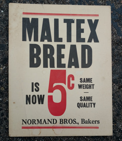Maltex Bread 5 cents Vintage Cardboard Sign - Normand Bros. Bakers