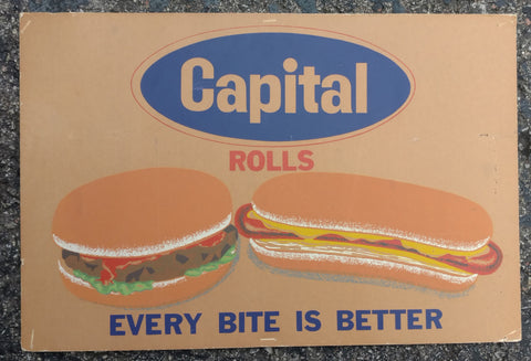 Capitol Bread & Rolls Cardboard Hamburger Sign - Old & Original  - 1960's