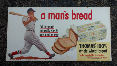 "Thomas' Bread ""Man's Bread"" Original Cardboard Trolley Sign 1950's - Baseball Theme"