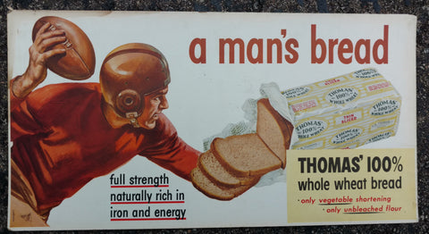 "Thomas' Bread ""Man's Bread"" Original Cardboard Trolley Sign 1950's - Football Theme"