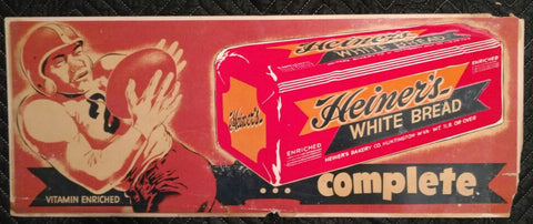 1950's Heiner's Bakery Football Complete Cardboard Sign - Old & Original - West Virginia