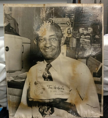Freihoefer's Bread Store Clerk Cardboard Display Sign Photo - Original Vintage Photo