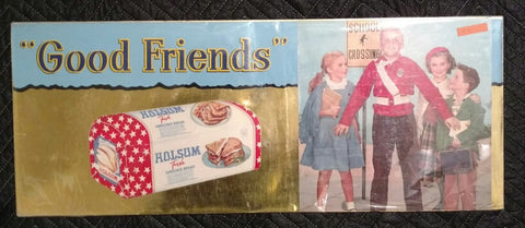 "Vintage Holsum Bead ""Good Friends"" Cardboard Sign - Old & Original 1950's"
