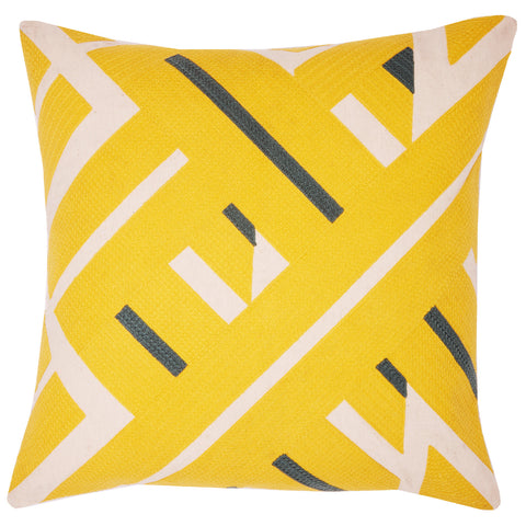 Diagonal lines yellow, 22x22, cushion