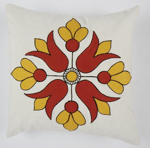 Diamond flower orange 18x18 cushion