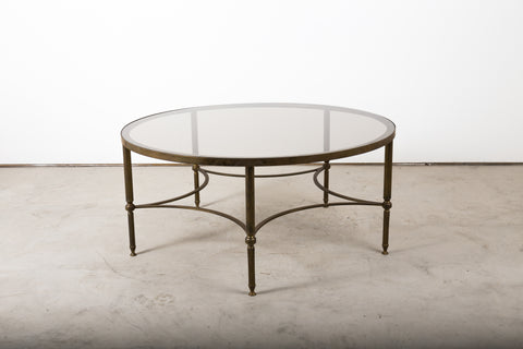 VINTAGE 0010 - RARE brass table with tinted glass top , French 1950s