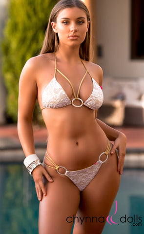 Lourdes: Strappy Swimsuit in Gold with White Lace Overlay and Silver Rings