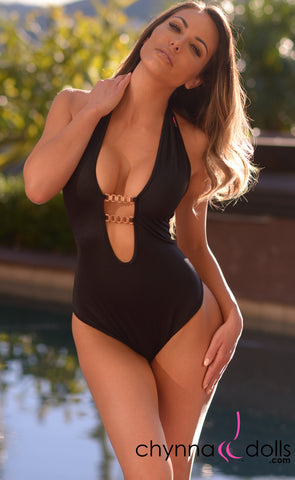 Napoli: Halter One Piece with Watch Broach Connectors in Black