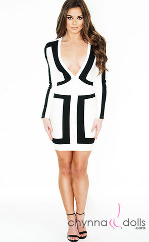 Julia: Bodycon Dress in White with Black Color Blocking Detail
