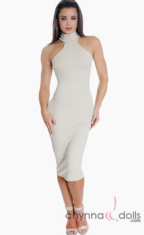 Kelly: High Neck Midi Length Bodycon Dress