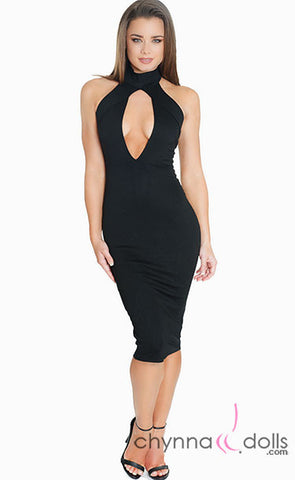 Mya: Plunge Keyhole High Neck Midi Length Bodycon Dress