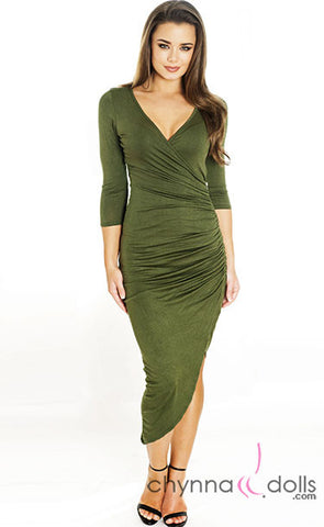 Bella: Asymetrical Wrap Dress with Zipper Detail