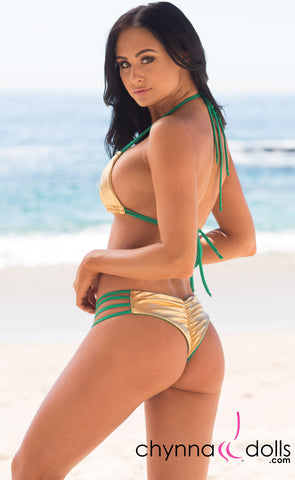 Ibiza: Reversible 4 Strap Diamond Bitty Bikini in Green/Gold