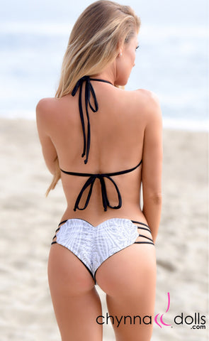 Heart Cake: Heart Shaped Reversible Bikini in Black x White Lace
