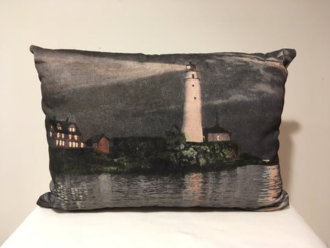 Colorful Cotton Twill Pillow Of Boston Light - That Fabled Shore Home Decor