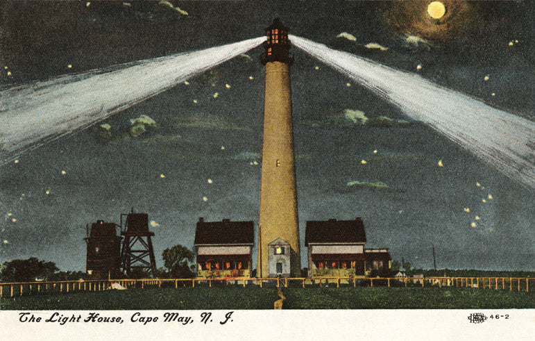 Cape May Lighthouse at Night - Cape May, NJ Night Light - That Fabled Shore Home Decor