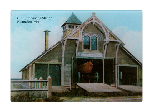 Nantucket Lifesaving Station Glass Cutting Board - That Fabled Shore Home Decor