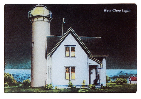 Martha's Vineyard - West Chop Light at Night Glass Cutting Board - That Fabled Shore Home Decor