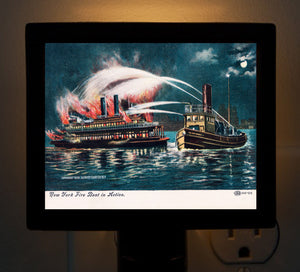 Fire Boat In Action In New York Harbor Night Light - That Fabled Shore Home Decor