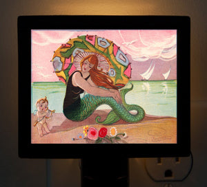 Mermaid and Cupid (2) Night Light - That Fabled Shore Home Decor