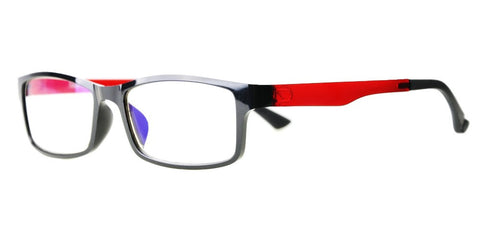 Blue Light Blocking Glasses, Reduce Eye Strain, Black / Clear Red Style 708, Adjustable Ear Piece, from EYES PC