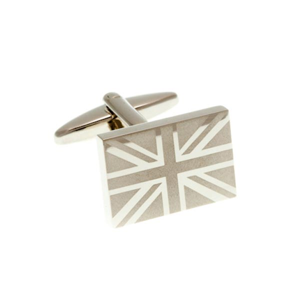 Union Jack Etched Brushed Metal Cufflinks by Elizabeth Parker England