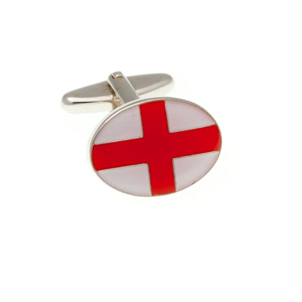 England English Flag Red White St George's Flag Patriotic Enamel Cufflinks by Elizabeth Parker England