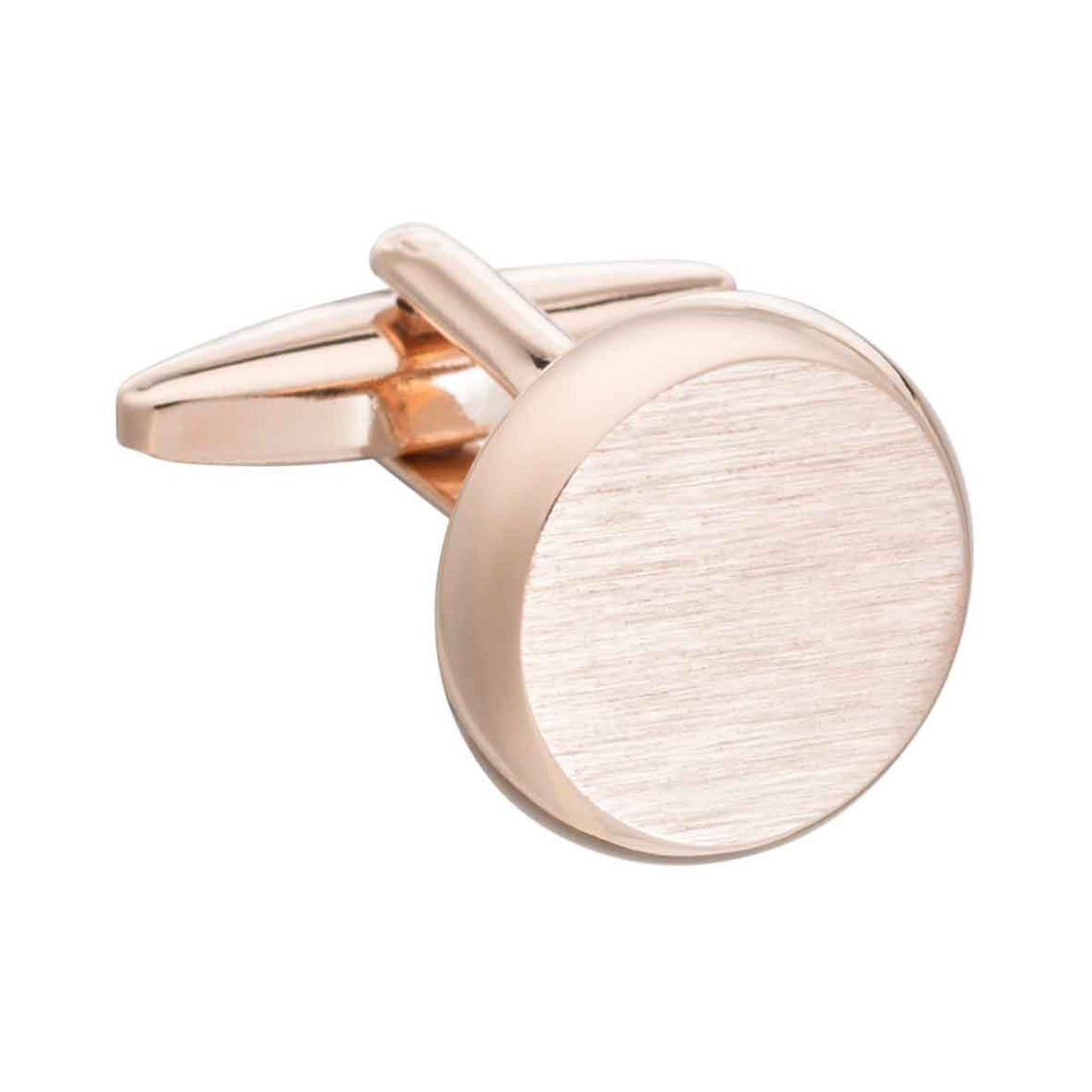 Rose Gold Smooth 'O' Brushed Finish Round Cufflinks by Elizabeth Parker