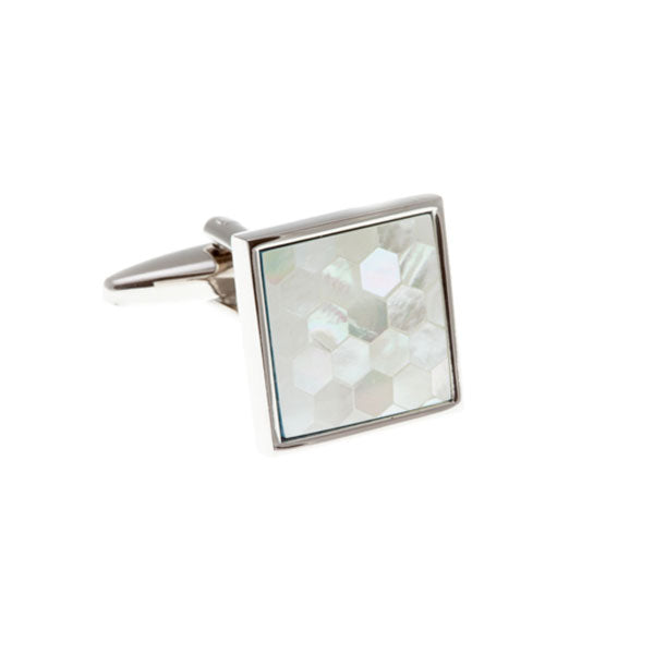Square & Patterned White Mother Of Pearl Simply Metal Cufflinks by Elizabeth Parker