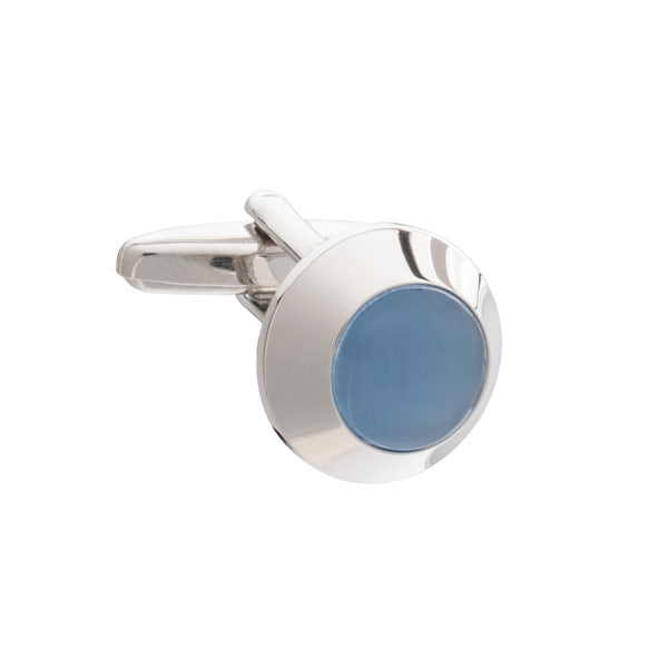 Blue Beacon Styled Plain Metal Cufflinks by Elizabeth Parker