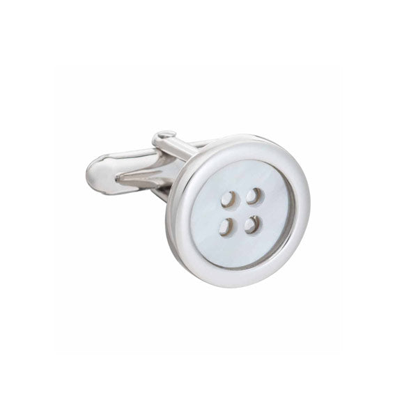 .925 Solid Silver and Mother of Pearl Button Cufflinks by Elizabeth Parker